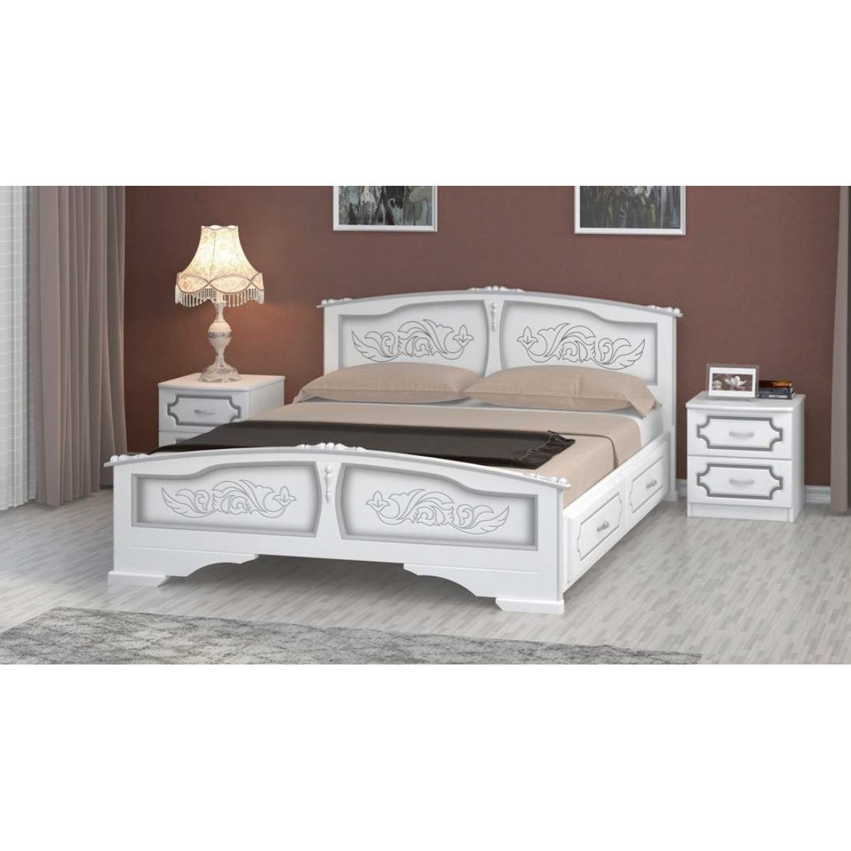 """Кровать """"Елена"""" белый жемчуг, с ящиками"""
