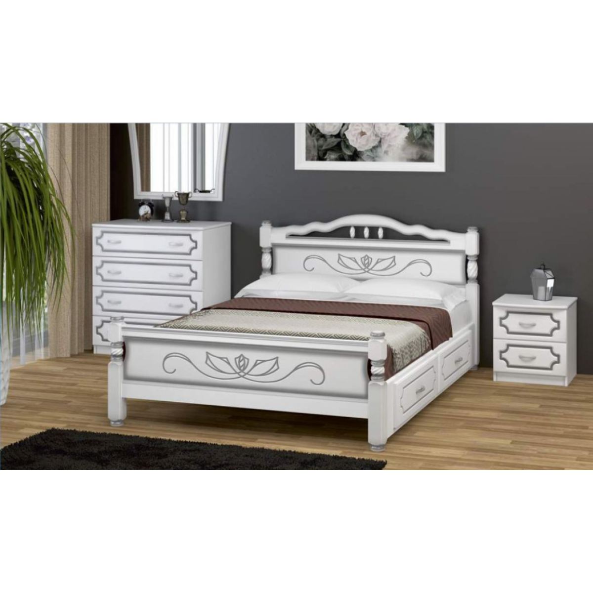 """Кровать """"Карина-5"""" белый жемчуг, с ящиками"""
