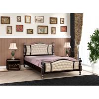 """Кровать """"Жасмин"""" Орех Тёмный с тонировкой, светлая экокожа"""